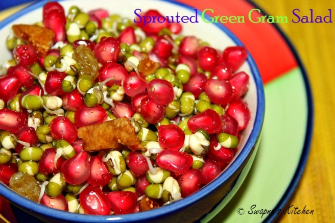 sprouted green gram salad