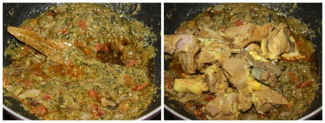 add the cooked mutton
