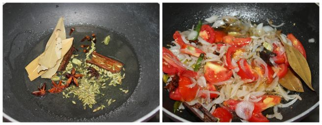 saute spices,onion,tomato