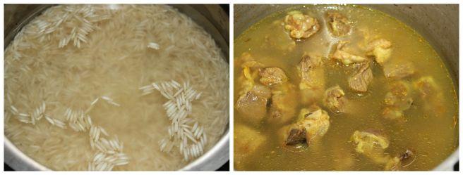 soak rice, cook the mutton