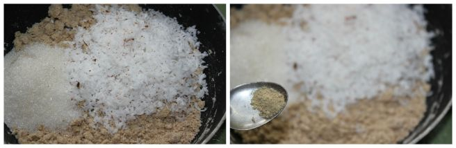 add sugar,coconut,cardamom powder