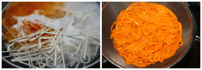 cook the noodle with orange food color