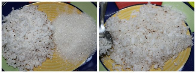 mix coconut and sugar