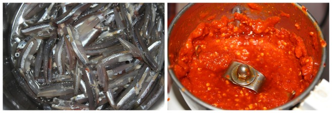clean th fishes and grind the red chillies to fin paste