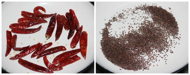 roast the chillies and sesame seeds