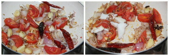 saute onion ,tomatoes and coconut pieces