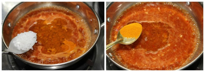 add turmeric powder and salt