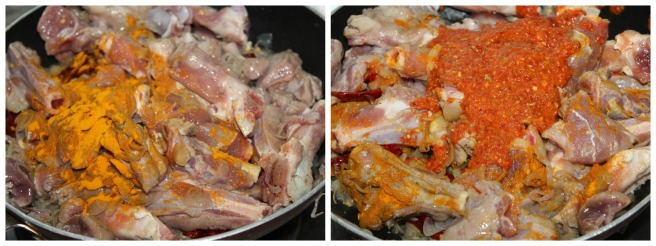 add turmeric powder,ground masala