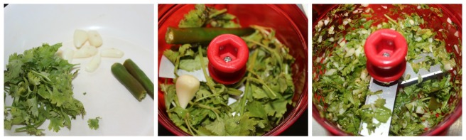 chop coriander leaves,garlic and green chilies