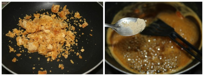 add water,jaggery and cardamom powder