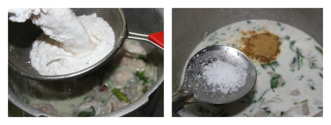 add coconut milk ,salt and garam masala
