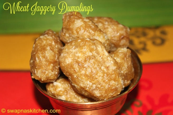 wheat jaggery dumplings